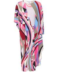 Emilio Pucci Robe midi imprimée en soie mélangée - Multicolore