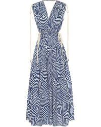 Lee Mathews Exclusivité Mytheresa – Robe longue imprimée en coton - Bleu
