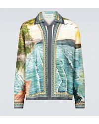 CASABLANCA Camisa con motivo de puesta de sol - Azul
