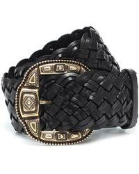 Etro Braided Leather Belt - Black