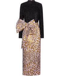 Halpern Robe longue en brocart à motif léopard - Multicolore