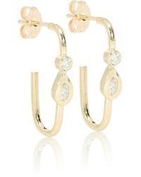 Jacquie Aiche Teardrop 14kt Gold Stud Earrings With Diamonds - Metallic
