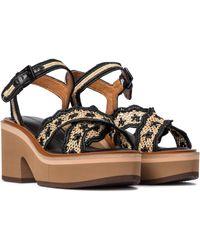 Clergerie Charlize Raffia Platform Sandals - Multicolour
