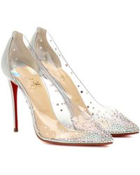 Christian Louboutin Degrastrass 100 Embellished Pvc Pumps - Metallic