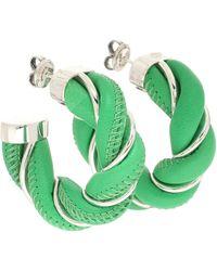 Bottega Veneta Boucles d'oreilles en cuir et argent - Vert