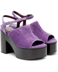Dries Van Noten Suede Platform Sandals - Purple