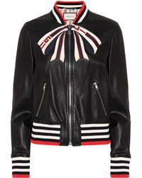 Gucci Leather Bomber Jacket - Black