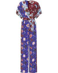 Diane von Furstenberg Floral-printed Wrap Jumpsuit - Blue