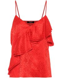 Balmain Top aus Seide - Rot