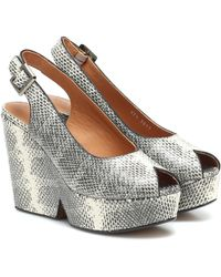 Clergerie Dylan Leather Plateau Sandals - Grey