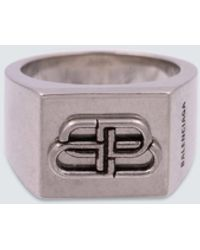 Balenciaga Bb Logo Ring - Metallic