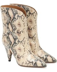 Isabel Marant Leinee Snakeskin-embossed Leather Ankle Boots - Natural