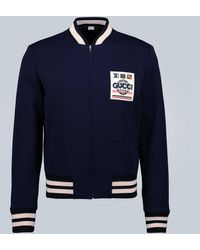 Gucci Jersey Wool Bomber Jacket - Blue