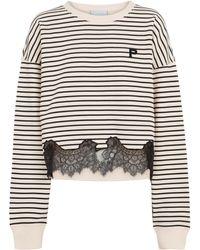 Philosophy Di Lorenzo Serafini Lace-trimmed Striped Cotton Sweatshirt - Black