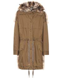 Stella McCartney Faux Fur-trimmed Coat - Green
