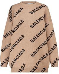 Balenciaga Logo Intarsia Wool-blend Knit Crewneck Sweater - Natural