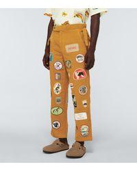Bode Pantalones de algodón de patchwork - Amarillo