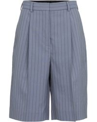 Acne Studios Pinstriped Wool Shorts - Blue