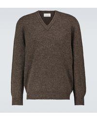Lemaire Jersey de lana con cuello en pico - Marrón