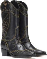 Ganni High Texas Leather Cowboy Boots - Black