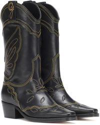 Ganni Black Leather Texas Boots
