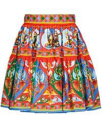 Dolce & Gabbana Minigonna in popeline di cotone con stampa - Rosso