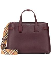 Burberry - Banner Medium Leather Tote - Lyst