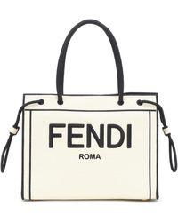 Fendi Cabas Roma en toile - Blanc
