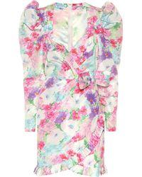 Alessandra Rich Floral Silk Minidress - Pink