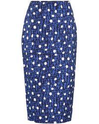 Diane von Furstenberg Kara Polka-dot Stretch-cady Pencil Skirt - Blue