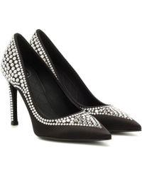 Balmain Crystal-embellished Satin Court Shoes - Black