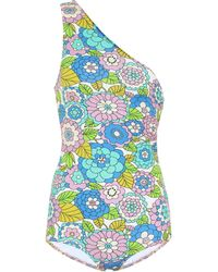 Dodo Bar Or Floral One-shoulder Swimsuit - Blue