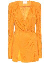 The Attico Floral Jacquard Minidress - Orange