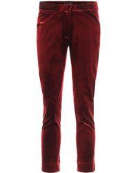 Ann Demeulemeester Pantalon slim en velours de coton mélangé - Rouge
