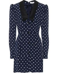 Alessandra Rich Vestido corto de seda de lunares - Azul