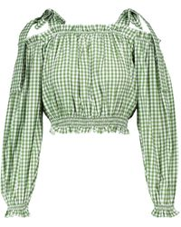 Alexandra Miro Exklusiv bei Mytheresa – Karierte Bluse aus Baumwolle - Grün