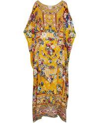 Camilla Cafetan en soie imprimée à ornements - Multicolore
