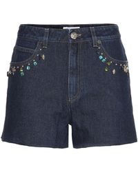 Sonia Rykiel - Embellished High-rise Denim Shorts - Lyst