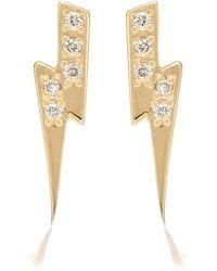 Sydney Evan Lightning Bolt 14kt Yellow Gold And Diamond Earrings - Metallic