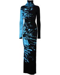 Vetements Vestido largo de lana estampado - Negro
