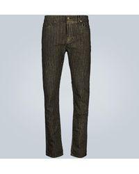 Saint Laurent Metallic-striped Skinny Jeans - Black