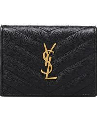 Saint Laurent Monogram Leather Wallet - Black
