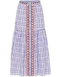 Temperley London Gonna Poet a stampa in cotone - Blu