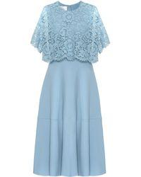 Valentino - Lace-trimmed Silk And Wool Midi Dress - Lyst