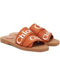 Chloé Woody Canvas Sandals - Brown