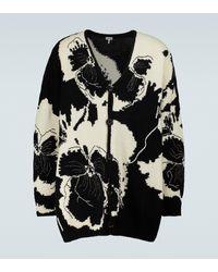 Loewe Cardigan Pansies en laine intarsia - Noir