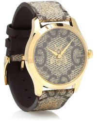 Gucci Uhr G-Timeless 38mm aus Leder - Braun
