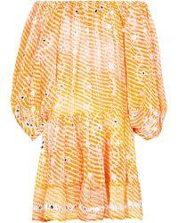 Juliet Dunn Sequined Off-shoulder Minidress - Orange