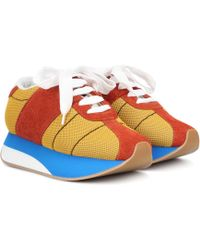 Marni - Big Foot Suede And Mesh Sneakers - Lyst