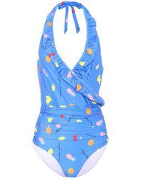 Ganni - Dexies Halterneck Swimsuit - Lyst